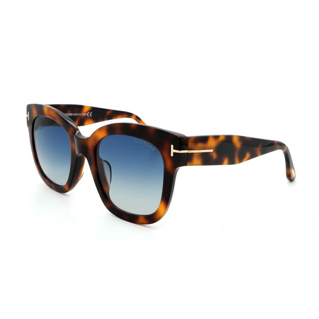Women's FT06135253W Sunglasses // Havana + Blue Gradient