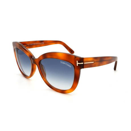 Women's FT05245653W Sunglasses // Blonde Havana + Blue Gradient
