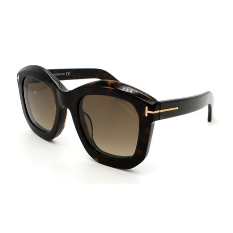 Unisex FT05825052J Sunglasses // Dark Havana + Brown Gradient