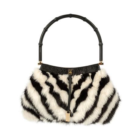 Gucci // Zebra Black Bamboo Handle // White + Black // Pre-Owned