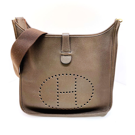 Hermes // Taurillon Clemence Evelyne PM Shoulder Bag // Brown // Pre-Owned