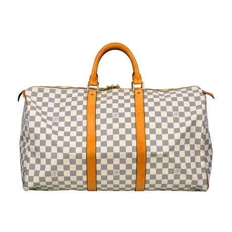 Louis Vuitton // Damier Canvas Keepall Duffle 50 Travel Bag // White // Pre-Owned