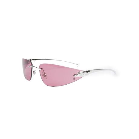Unisex T8200632 Sunglasses // Shiny Silver + Burgundy