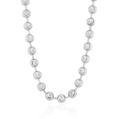 "Solid Sterling Silver Moon Cut Bead Chain // 5mm (26"")"