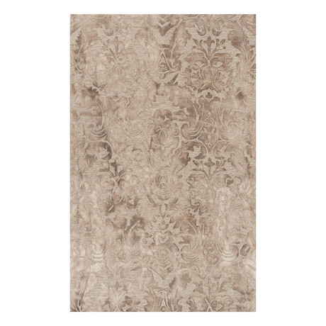 Traditional Wool Damask Area Rug // Camel // 8' x 10'