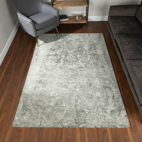 Traditional Wool Damask Area Rug // Gray // 4' x 6'