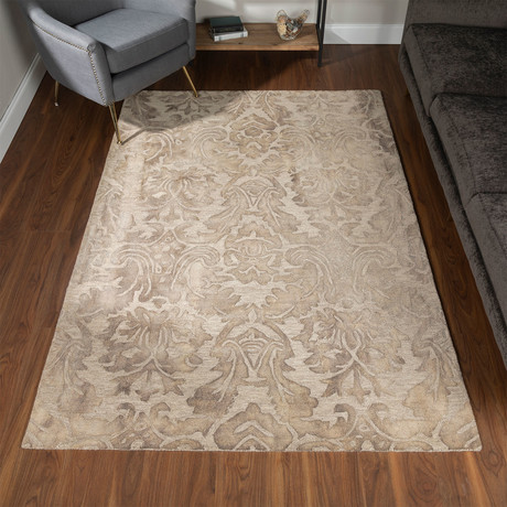 Traditional Wool Damask Area Rug // Camel // 5' x 8'
