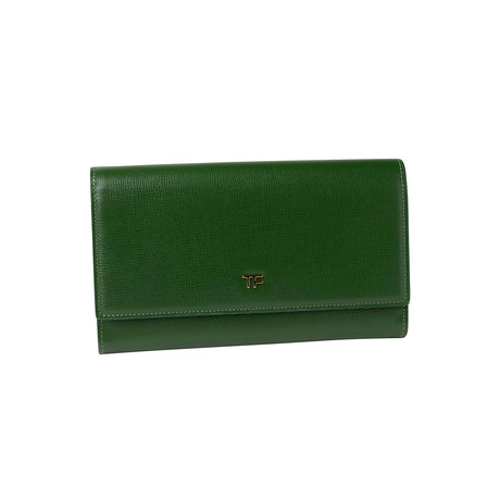 Women's Leather Large Wallet // Green