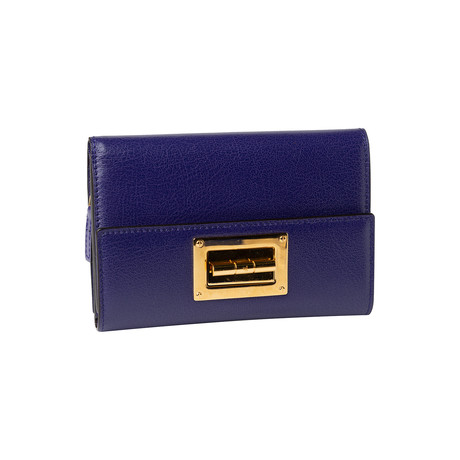 Women's Leather Wallet Small // Purple