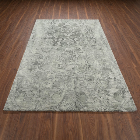 Traditional Wool Damask Area Rug // Gray // 8' x 10'