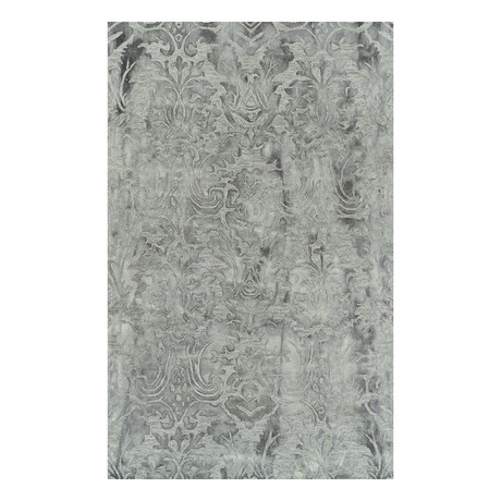 Traditional Wool Damask Area Rug // Gray // 5' x 8'