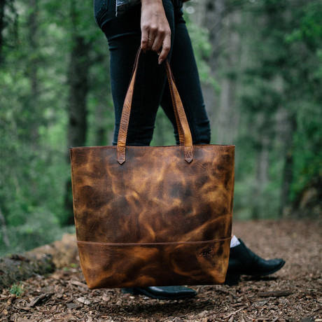 Juneau Leather Tote // Antique Brown