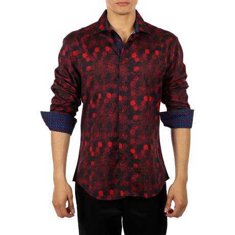 Nikki Long-Sleeve Button-Up Shirt // Red (S)