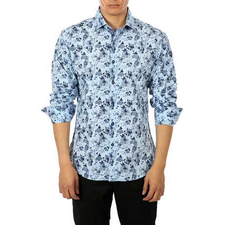 Sagan Long-Sleeve Button-Up Shirt // Blue (S)