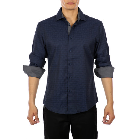 Marcel Long Sleeve Button Up Shirt // Navy (XS)