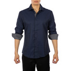 Marcel Long Sleeve Button Up Shirt // Navy (XS)