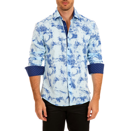 Jakob Long-Sleeve Button-Up Shirt // Blue (S)