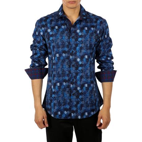 Nikki Long-Sleeve Button-Up Shirt // Blue (S)