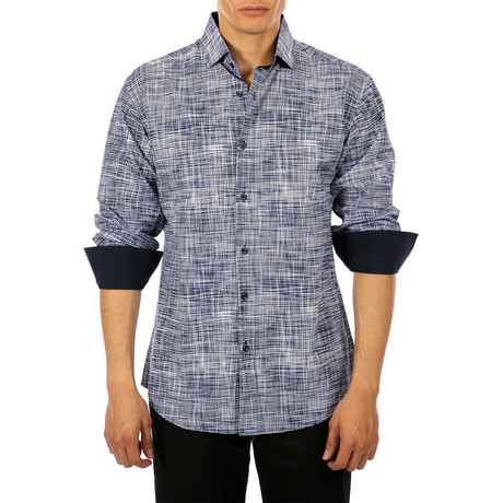 Lewis Long-Sleeve Button-Up Shirt // Navy (M)