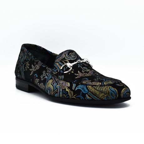 Stewart Leather Loafers // Black Blue Design (Euro: 39)
