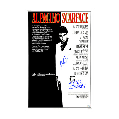 Al Pacino + Steven Bauer // Autographed Scarface // Movie Poster