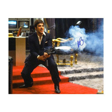 Al Pacino // Autographed Scarface Tony Montana My Little Friend // Action Photo