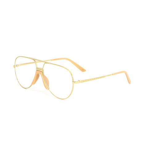 Women's Aviator Shape Sunglasses // Gold + Clear