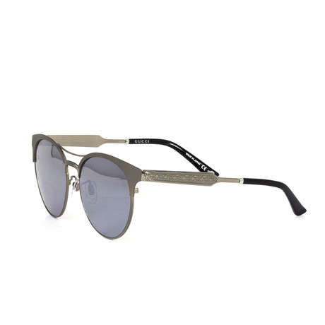 Women's Round Sunglasses // Gray + Silver
