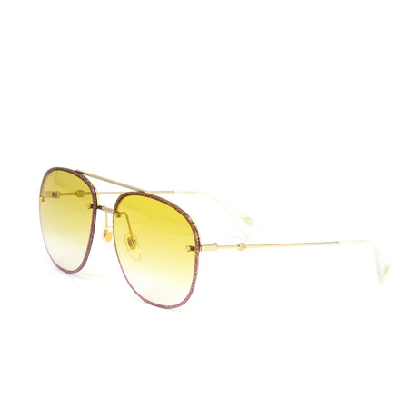 Women's Oval Sunglasses // Gold + Pink