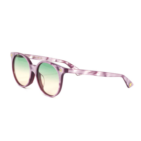 Women's Round Sunglasses // Pink Pearl + Green