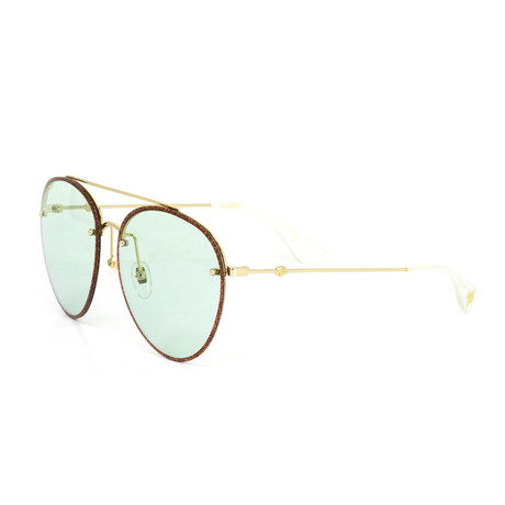 Women's Aviator Sunglasses // Gold + Green