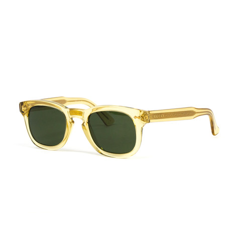 Unisex Transparent Square Sunglasses // Yellow + Green