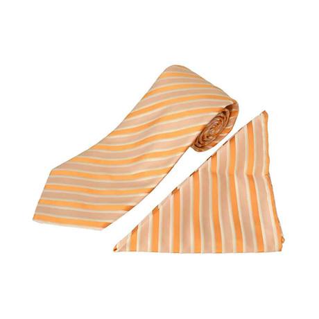 Zilli // 100% Silk Striped Tie + Pocket Square Set // Orange