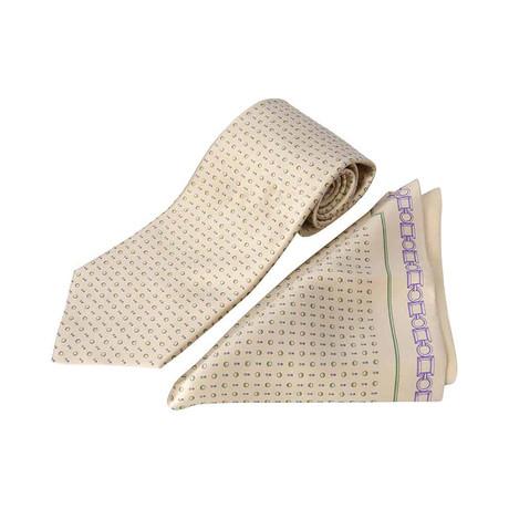 Zilli // 100% Silk Tie + Pocket Square Set // Beige + Green