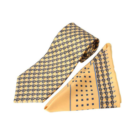 Zilli // 100% Silk Tie + Pocket Square Set // Yellow