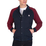 Haiden College Coat // Navy + Bordeaux (2XL)