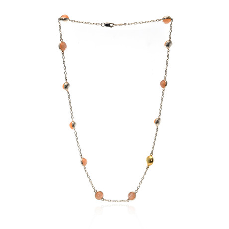 Gurhan Sterling Silver + 24k Yellow Gold Moonstone Spell Hue Necklace