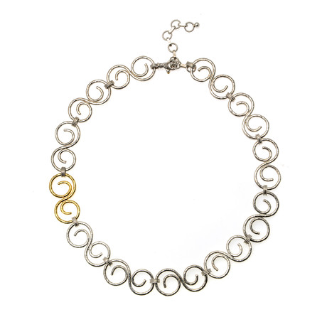 Gurhan Sterling Silver + 24k Yellow Gold Vortex Necklace