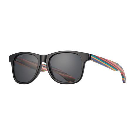Indio Polarized Sunglasses // Black Onyx + Rainbow Wood + Smoke