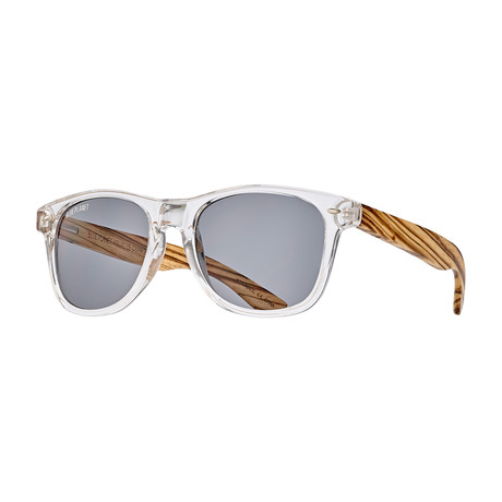 Bodie Polarized Sunglasses // Crystal Clear + Zebra Wood + Smoke
