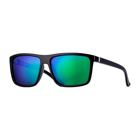 Landen Polarized Sunglasses // Black + Green + Blue
