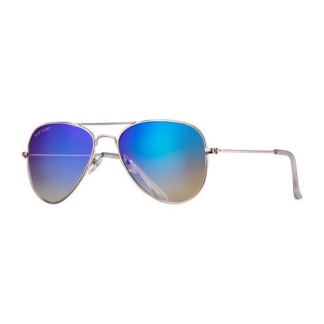 Wright II Polarized Sunglasses // Silver + Blue