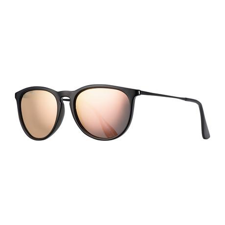 Kelsea Polarized Sunglasses // Black + Gold Mirror