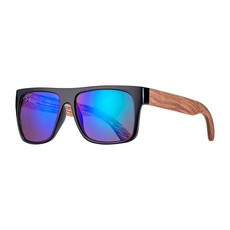 Keegan Polarized Sunglasses // Black + Brown + Blue