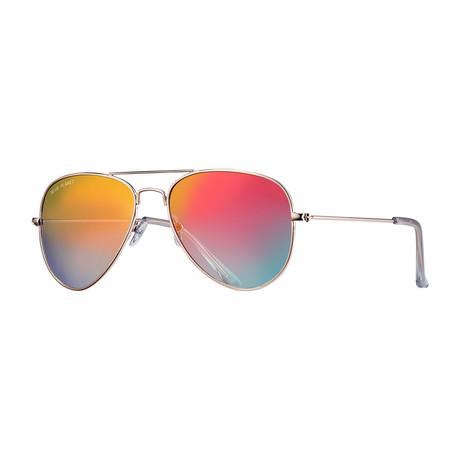 Wright II Polarized Sunglasses // Silver + Orange