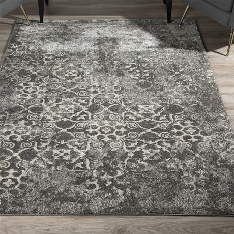 Distressed Damask Area Rug // Pewter // 10' x 13'