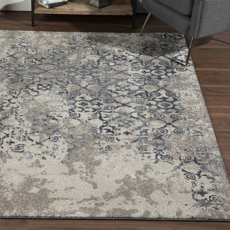 Distressed Damask Area Rug // Navy // 10' x 13'