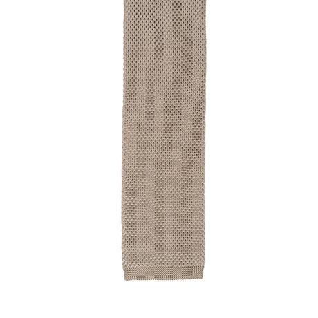 Cesare Attolini // Skinny Knot Solid Tie // Beige + Gold