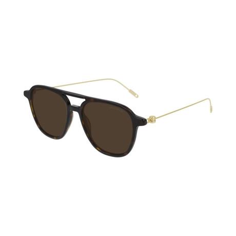 Men's Pilot Frame Sunglasses // Havana Brown