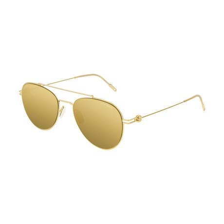 Men's Circular Frame Sunglasses // Gold